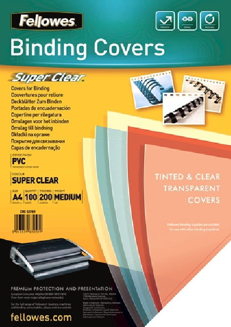 Binding Covers A4 Clear 200mic 100 Pack