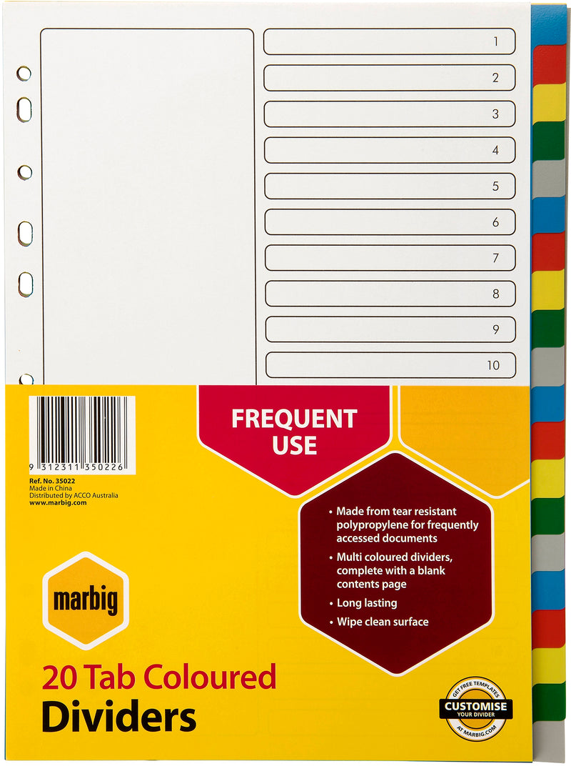 Marbig Divider A4 Polypropylene 20 Tab 5 Colours