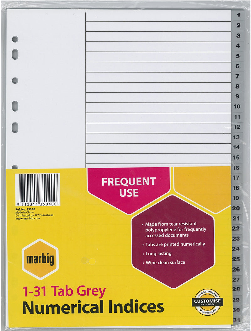 Marbig Indices & Dividers 1-31 Tab PP A4 Grey