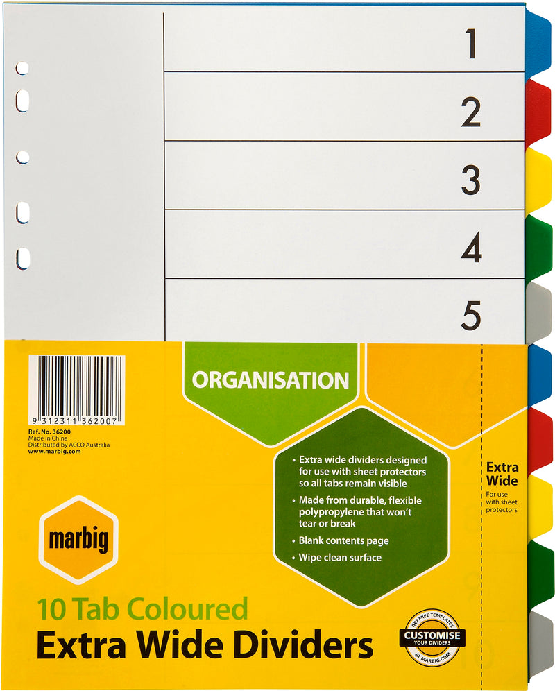 Divider A4 PP Extra Wide 10 Tab Colours