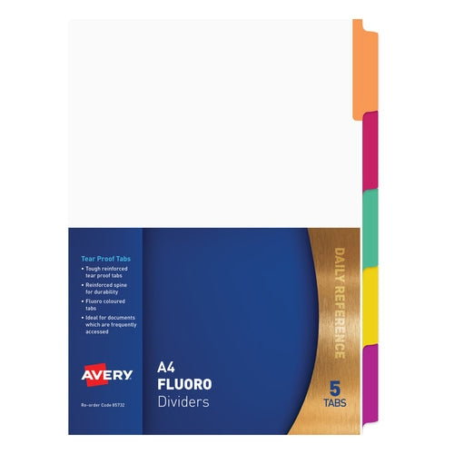 Avery Fluoro Dividers 5 Tabs Purple Green Red Yellow and Orange  (85732)