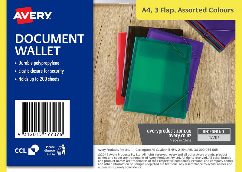 Document Wallet Poly Prop 3 Flap Assorted