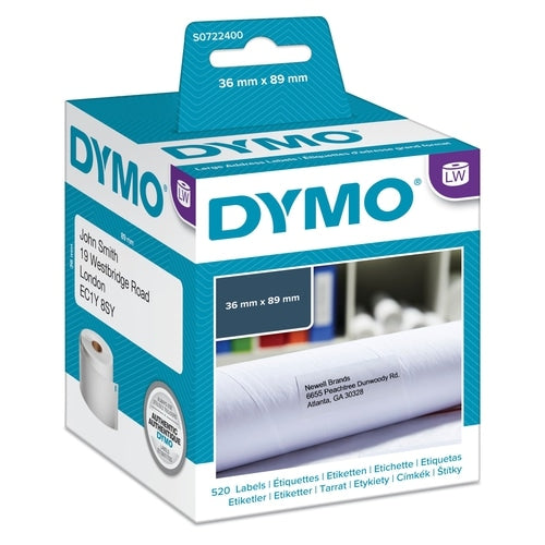 Dymo LabelWriter Large Address Labels 36mm x 89mm (520 White Labels) (SD99012)
