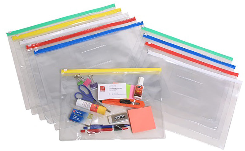 Zip Case Clear B4 395mm x 290mm Assorted