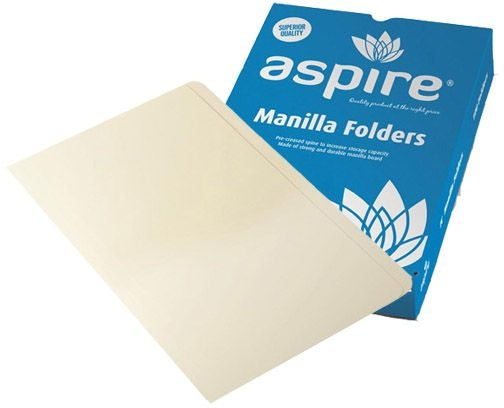 Aspire Manilla Folder A4 Buff 100 Pack