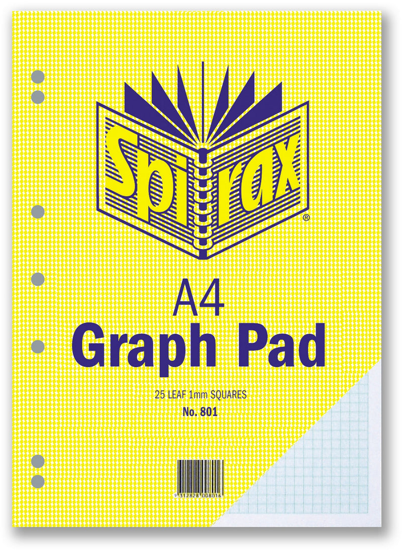 Spirax 801 A4 Graph Pad 1mm Side Open
