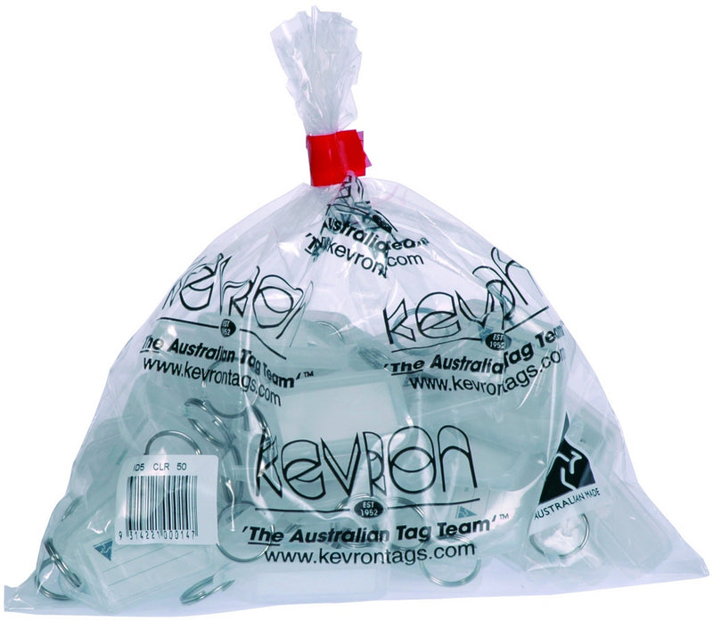 Kevron Clear Key Tags 50 Pack