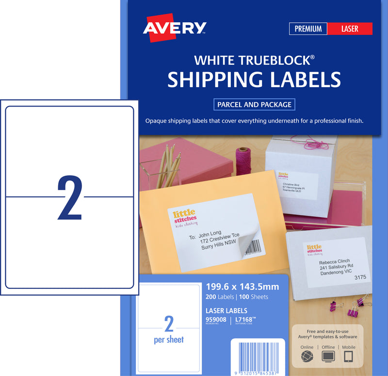 Avery Laser Label L7168 2UP 100 Pack