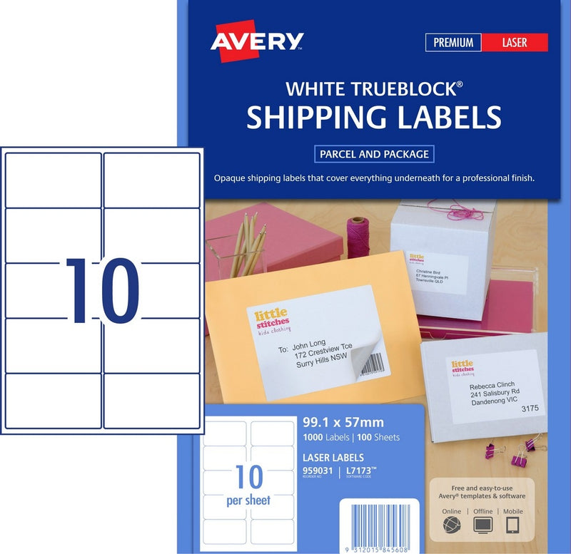 Avery Laser Label L7173 10UP 100 Pack