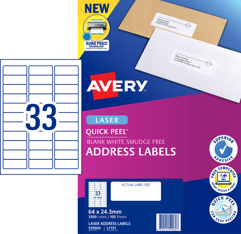 Avery Quick Peel Address Labels with Sure Feed  for Laser Printers, 64 x 24.3 mm, 3300 Labels (959060 / L7157)