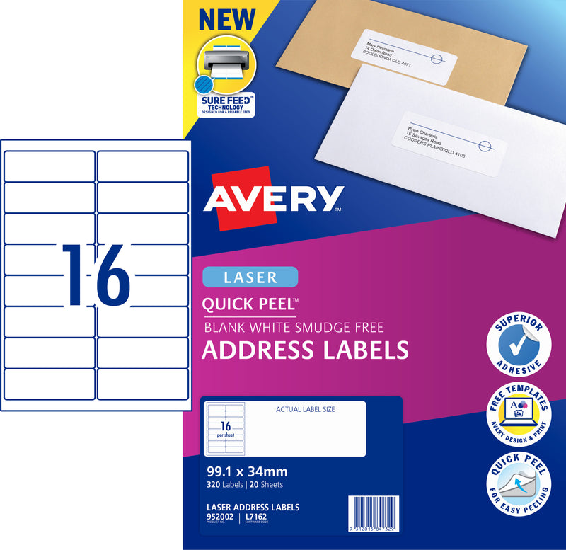 Avery Quick Peel Address Labels with Sure Feed  for Laser Printers, 99.1 x 34 mm, 320 Labels (952002 / L7162)