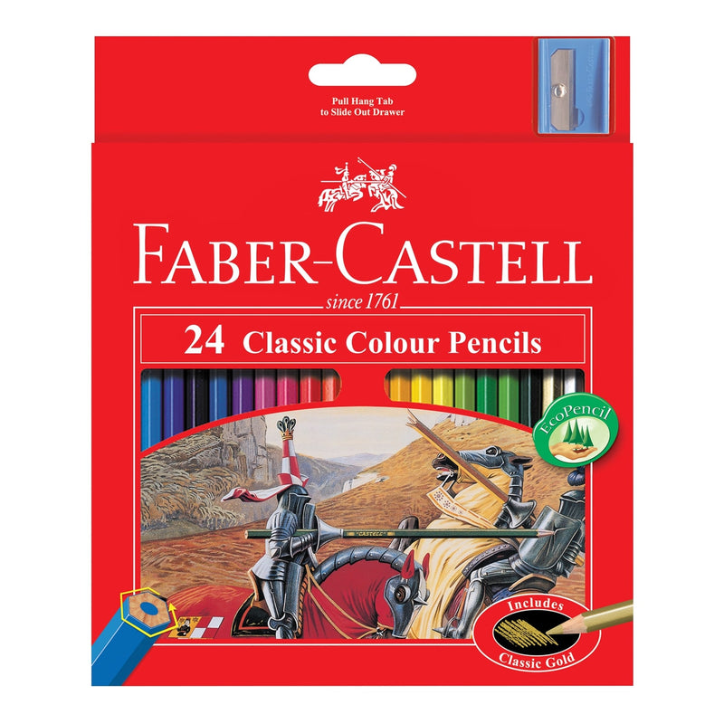 Faber-Castell Classic Colour Pencils + Sharpener Assorted Pack of 24