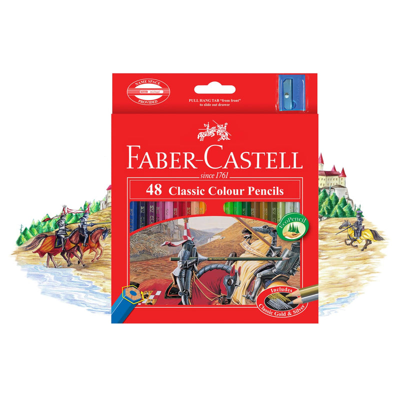 Faber-Castell Classic Colour Pencils + Sharpener Assorted Pack of 48