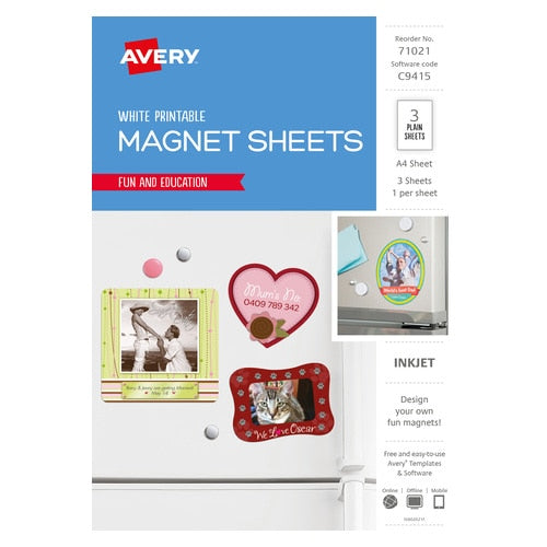 Avery Fridge Magnet for Inkjet Printers 210 x 297 mm 3 Magnets (71021 / C9415)