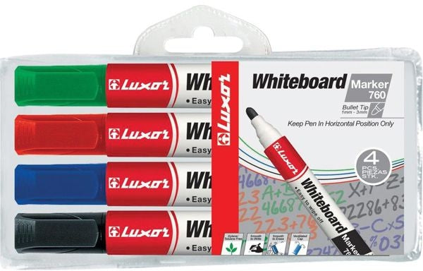 Luxor 760 Whiteboard Marker Bullet 4 Assorted Colours Wallet