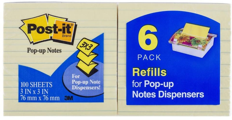 Post It Pop Up R335YL 73x73 Ruled 6 Pack