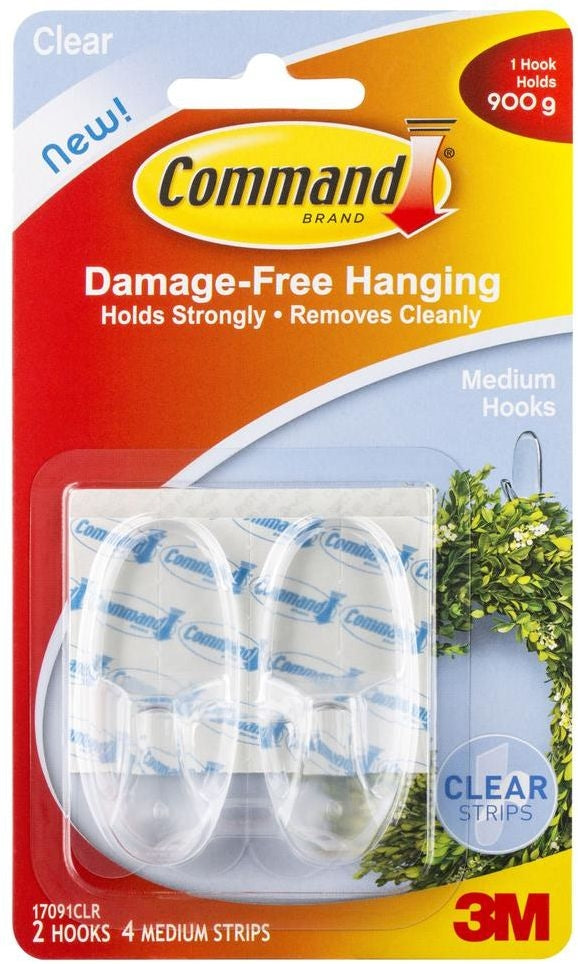 Command Clear Medium Hooks 2 Pack (Medium)