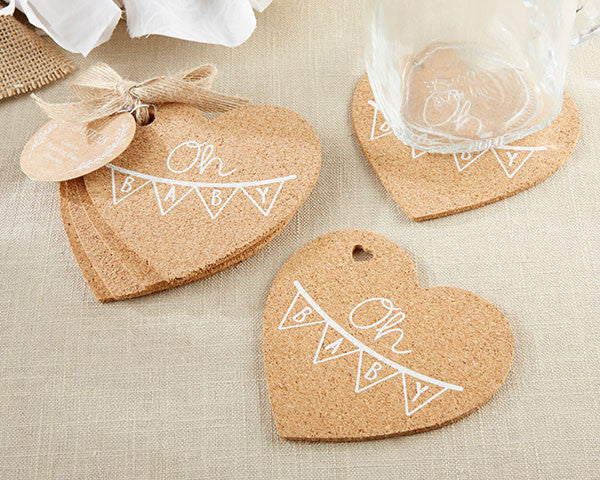 Baby Shower Cork Heart Coaster (Pack of 4)