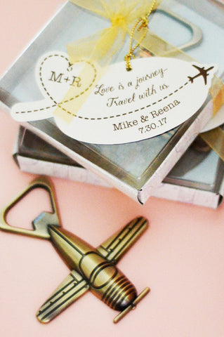 "Airplane Bottle Opener Favor with Personalized Tag ""Love is a Journey...Travel with Us"""