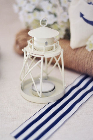 White Lighthouse Lantern Votive for Beach or Nautical Wedding Decor