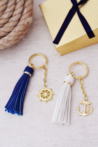 Nautical Anchor Keychain Maid of Honor Bridesmaid Gift (White or Gold)