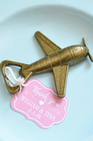Wedding Favor Thank you Tag Antique Bronze Airplane Bottle Opener