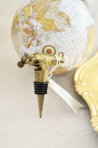 "Airplane Bottle Stopper Favor ""Let the Adventure Begin"" (Antique Bronze)"