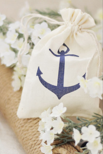 Nautical Wedding Muslin Favor Bags with printed Navy Blue Anchor (Package of 12)