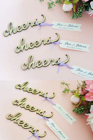 Cheers Bottle Opener Favor with Personalized Tag (Antique Gold)