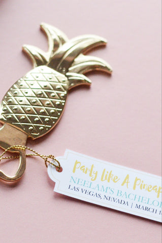 "Pineapple Bottle Opener Favor with personalized tag ""Party Like a Pineapple"" (Gold)"