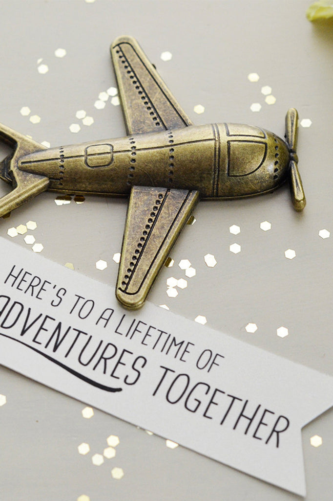 b37e0f5045f Airplane Bottle Opener Anniversary Gift - Here s to a lifetime of adventures  together (Antique Bronze