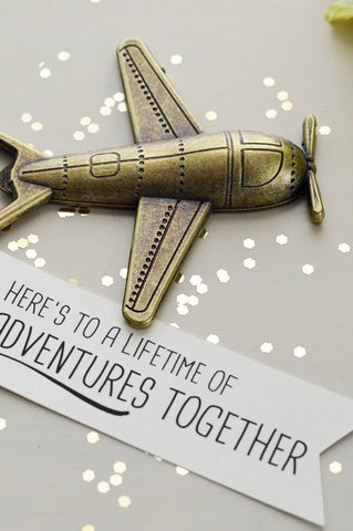 Airplane Bottle Opener Anniversary Gift - Here's to a lifetime of adventures together (Antique Bronze)