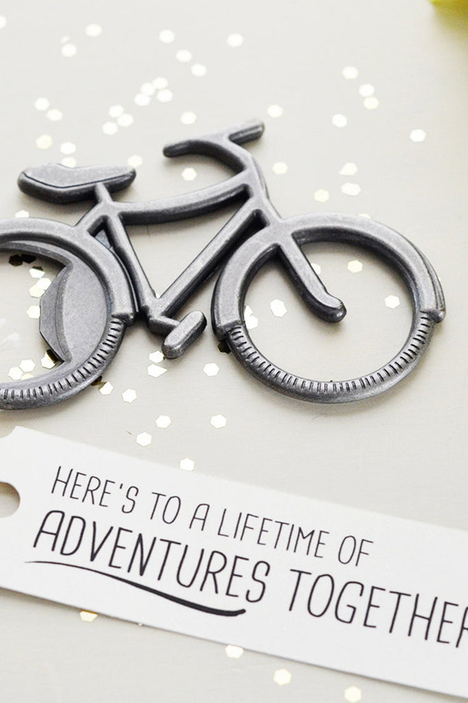 7bfc9715c7c Anniversary Bicycle Bottle Opener Gift - Here s to a lifetime of adventures  together