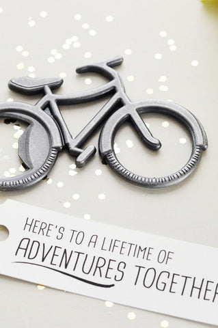 Anniversary Bicycle Bottle Opener Gift - Here's to a lifetime of adventures together