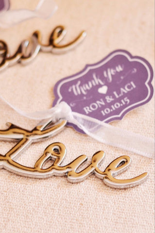 Love Bottle Opener Favor with Ornate Personalized Tag (Silver / Chrome)
