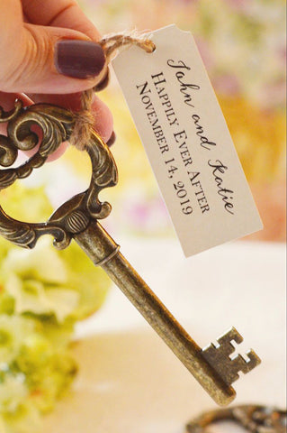 Key Bottle Opener Favor with Personalized Tag (Antique Gold)