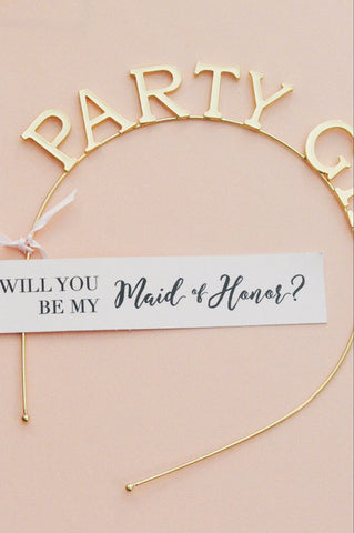 "Will you be my Maid of Honor ""Party Girl"" Gold Tiara, Crown, Headband Gift"