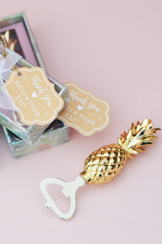 Pineapple Bottle Opener Favor with Personalized Tag and Gift Box (Gold)