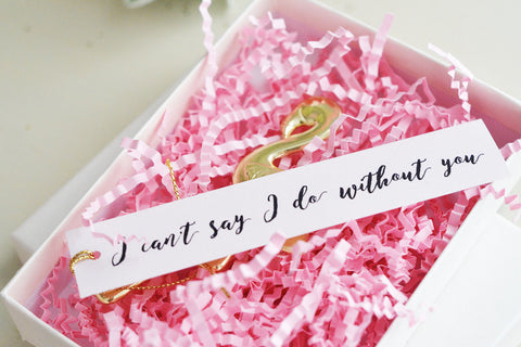 "Gift for Bridesmaids, Maid of Honor or Special Someone - Gold Flamingo Bottle Opener with blush tag ""I can't say I do without you"""