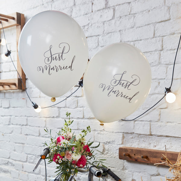Just Married White Balloons (Pack of 10)