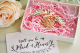 "Maid of Honor Gift - Gold Floral Rhinestone Headpiece with Blush Card ""Will you be my Maid of Honor"""