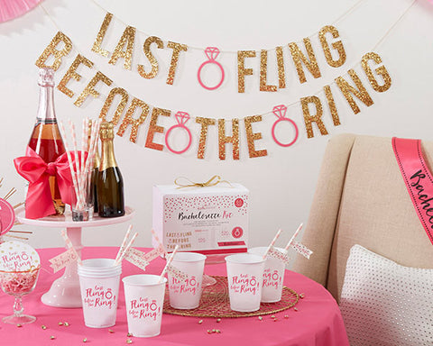 "Gold and Pink Bachelorette Party Kit ""Last Fling Before the Ring"" (66 Piece Kit)"
