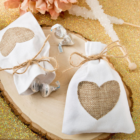 Rustic Wedding Favor Bag Shabby Chic Beach White Cotton with Burlap Heart Applique (Package of 12)