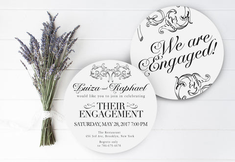 Elegant Engagement Invitation Round Vintage Ornate