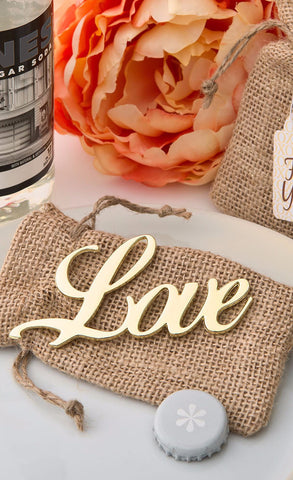 Love Bottle Opener with Burlap Bag (Gold)