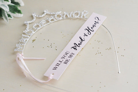 Will you be my Maid of Honor Vintage tiara, crown, headband gift