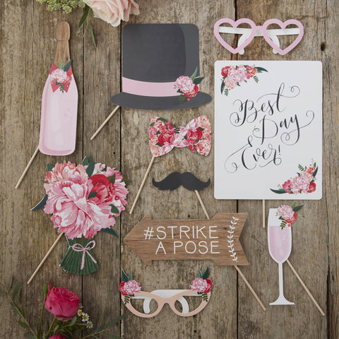 9 Piece Vintage Photo Props Vintage Floral, Best Day Ever, Strike a Pose Sign and others