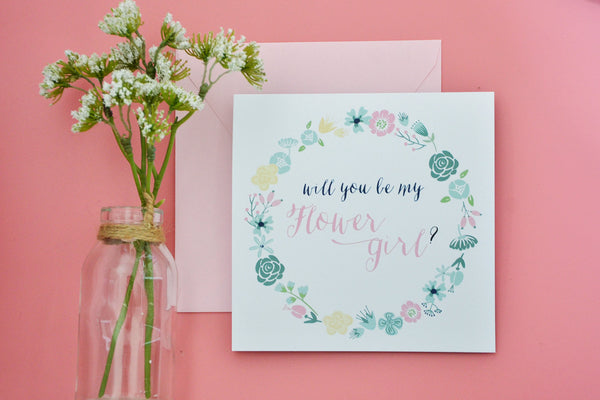 Will You Be my Flower Girl Card - Mint, Blush and Navy.