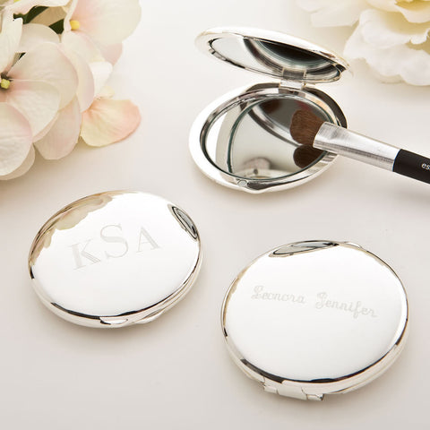 Personalized Jewelry Box Bridesmaids, Maid of Honor or Anniversary - Engraved Compact Round Mirror with gift box (custom message tag)