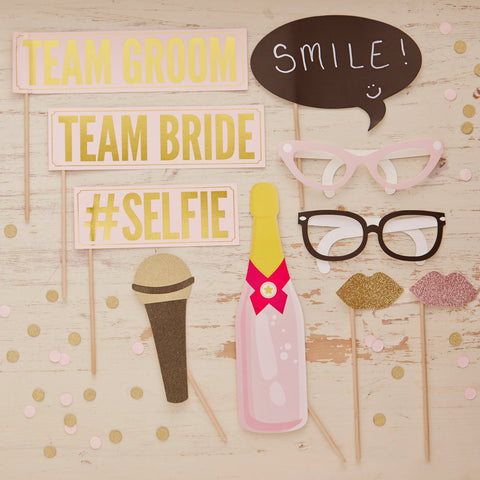 10 Piece Vintage Photo Props Vintage Blush and Gold, Team Bride, Team Groom, #Selfie, Sunglasses, Microphone and Lips.